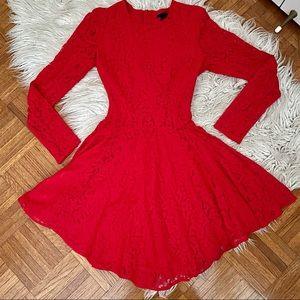 H&M red flared lace dress w/ back zipper size 2
